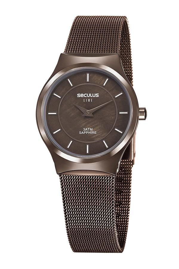 Relógio Feminino Seculus Pulseira de Aço Marrom Fundo Marrom 20772LPSVMS3
