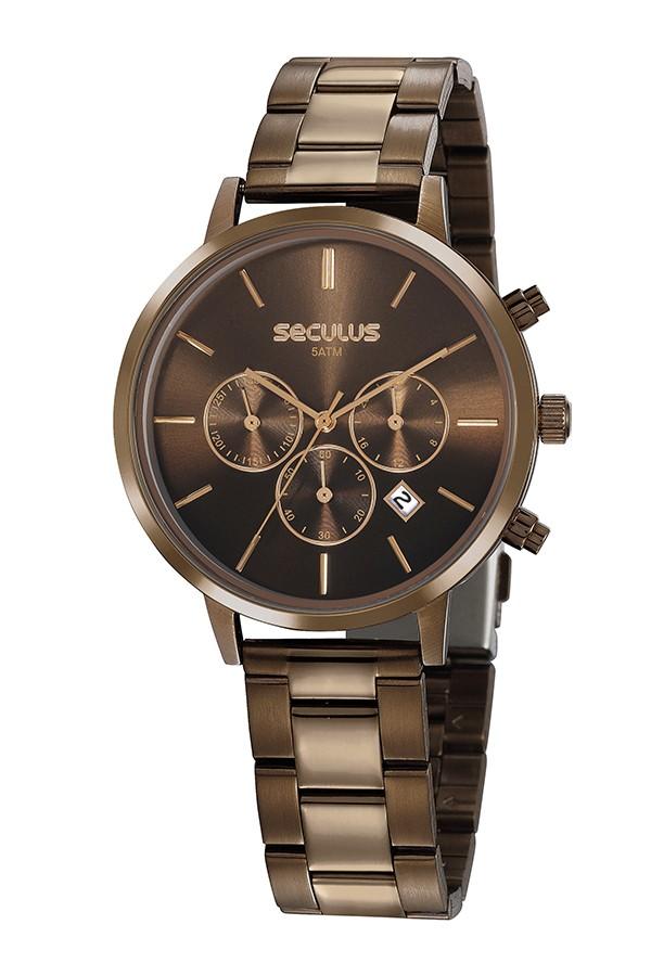 Relógio Feminino Seculus Pulseira de Aço Marrom Fundo Marrom 20783LPSVMS3