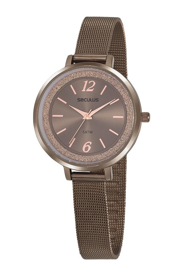 Relógio Feminino Seculus Pulseira de Aço Marrom Fundo Marrom 20869LPSVMS4