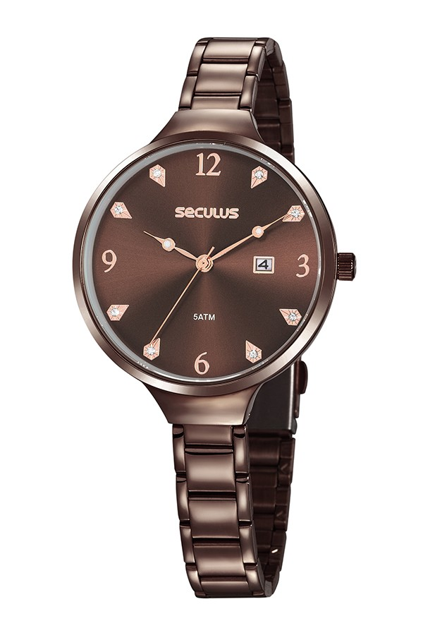 Relógio Feminino Seculus Pulseira de Aço Marrom Fundo Marrom 20885LPSVMS3