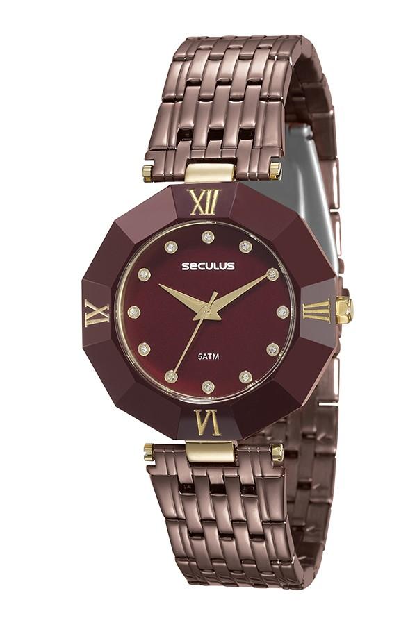 Relógio Feminino Seculus Pulseira de Aço Marrom Fundo Marrom 23529LPSKMQ7