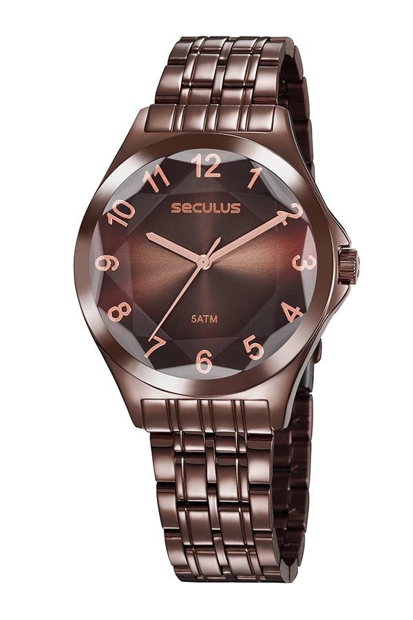 Relógio Feminino Seculus Pulseira de Aço Marrom Fundo Marrom 23602LPSVMS6