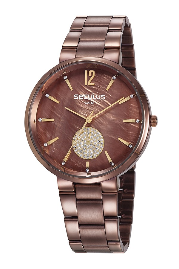 Relógio Feminino Seculus Pulseira de Aço Marrom Fundo Marrom 77022LPSVMS4