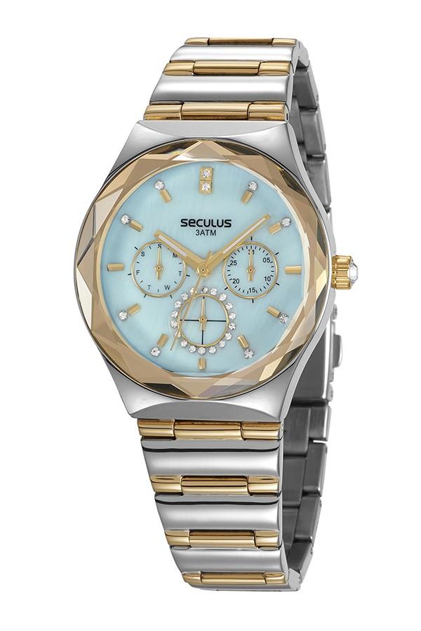 Relógio Feminino Seculus Pulseira de Aço Prata & Dourado Fundo Azul 13032LPSVBS1