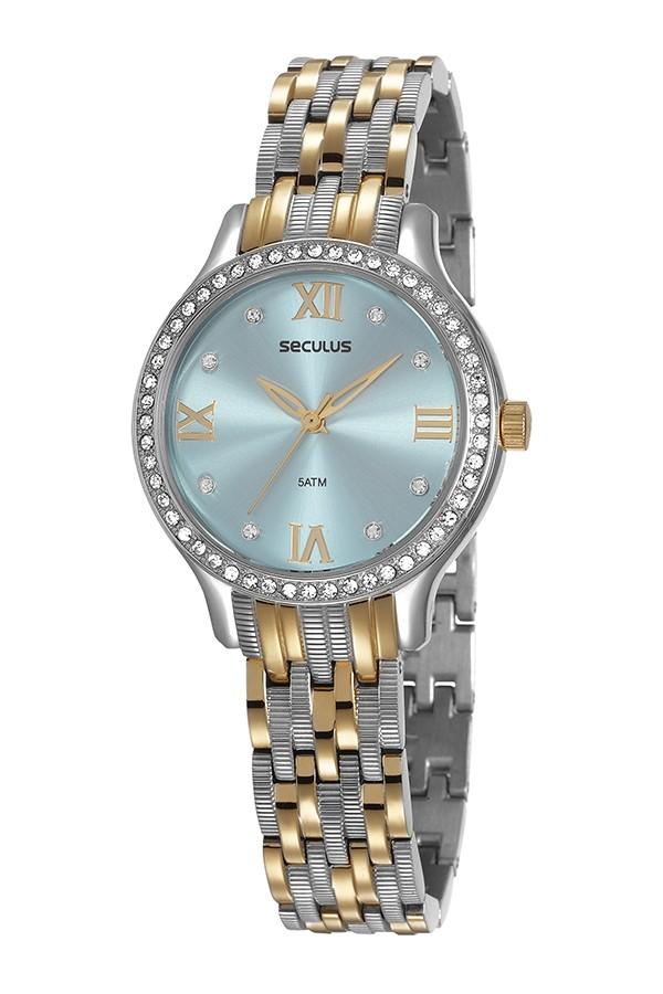 Relógio Feminino Seculus Pulseira de Aço Prata & Dourado Fundo Azul