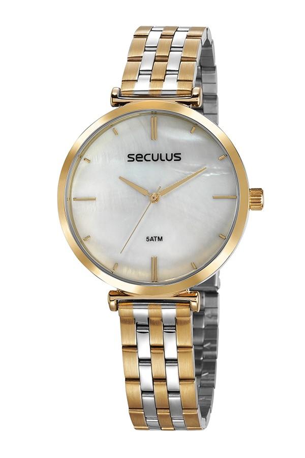 Relógio Feminino Seculus Pulseira de Aço Prata & Dourado Fundo Cinza 77040LPSKBS1