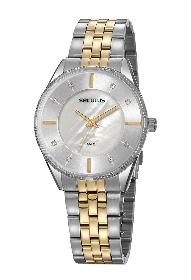 Relógio Feminino Seculus Pulseira de Aço Prata & Dourado Fundo Madreperola 77071LPSVBS2