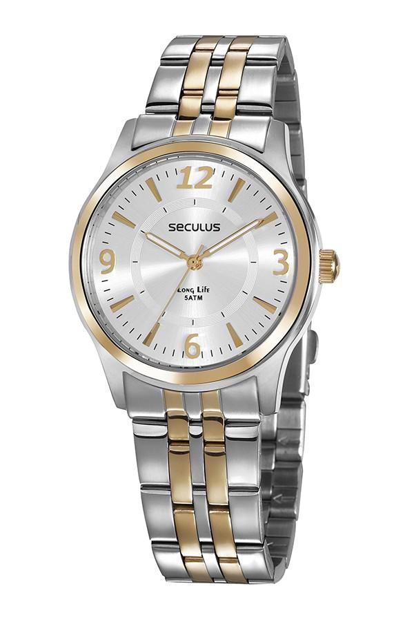Relógio Feminino Seculus Pulseira de Aço Prata & Dourado Fundo Prata 35024LPSVBA2