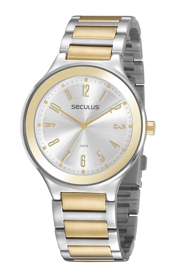 Relógio Feminino Seculus Pulseira de Aço Prata & Dourado Fundo Prata 77074LPSVBS2
