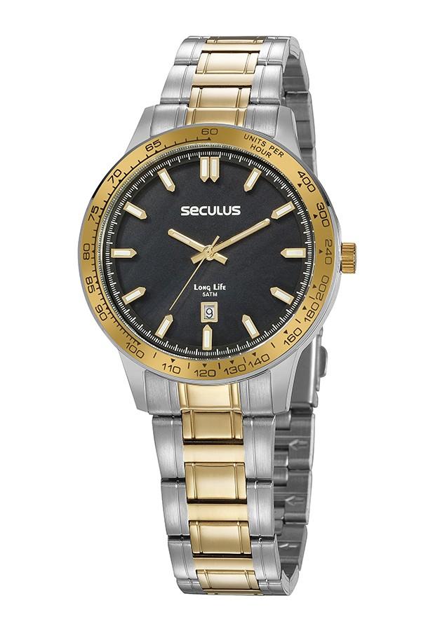 Relógio Feminino Seculus Pulseira de Aço Prata & Dourado Fundo Preto 20897LPSVBA3