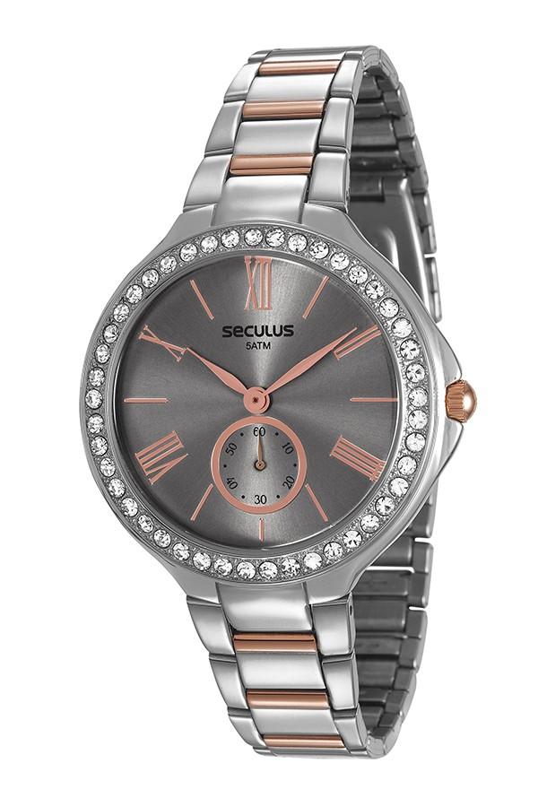 Relógio Feminino Seculus Pulseira de Aço Prata & Rose Fundo Cinza 48086LPSVGS3