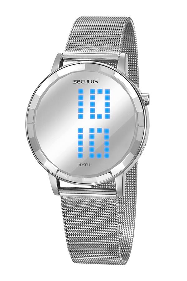 Relógio Feminino Seculus Pulseira de Aço Prata Fundo Led 77063L0SVNS4