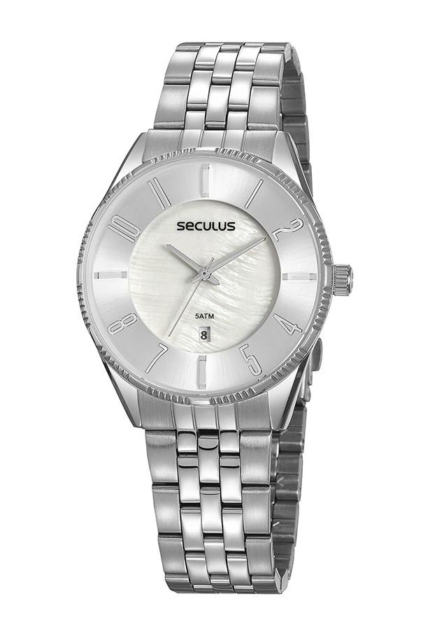 Relógio Feminino Seculus Pulseira de Aço Prata Fundo Madreperola 77073L0SVNS2