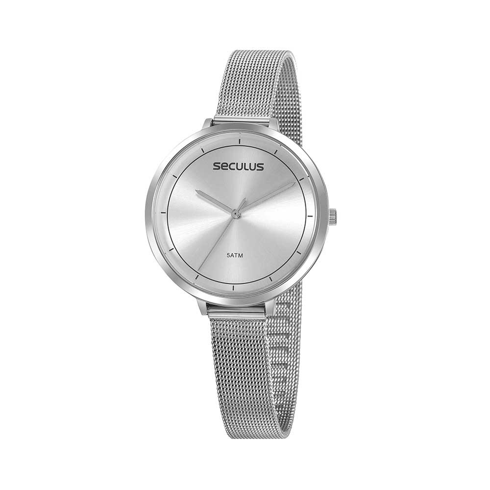 Relógio Feminino Seculus Pulseira de Aço Prata Fundo Prata