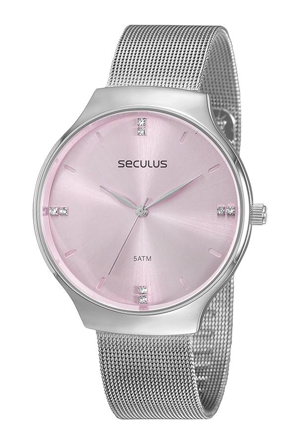 Relógio Feminino Seculus Pulseira de Aço Prata Fundo Rosa 77076L0SVNS4