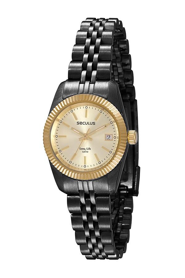 Relógio Feminino Seculus Pulseira de Aço Preta Fundo Champagne 77025LPSVHA6