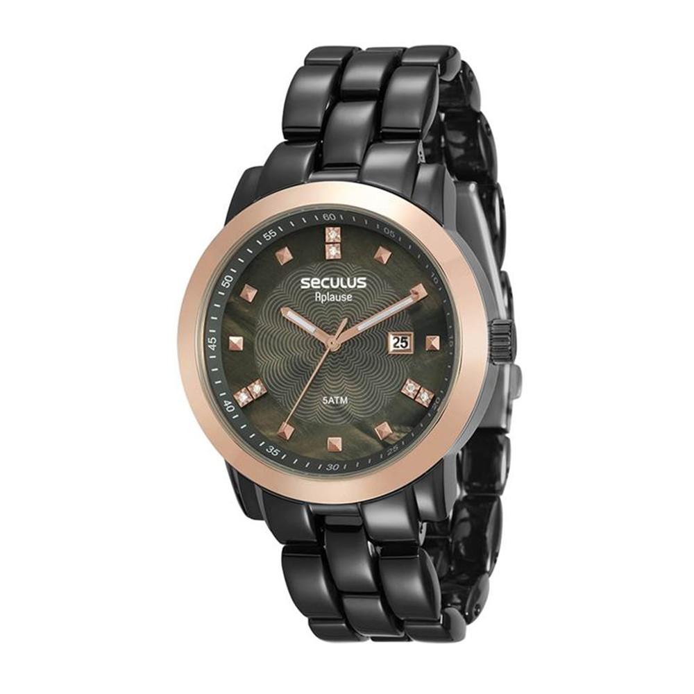 Relógio Feminino Seculus Pulseira de Aço Preta Fundo Cinza 20422LPSVUA6