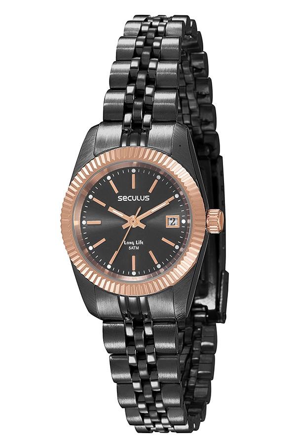 Relógio Feminino Seculus Pulseira de Aço Preta Fundo Cinza 77025LPSVUA5