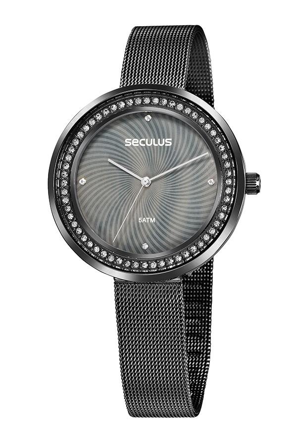 Relógio Feminino Seculus Pulseira de Aço Preta Fundo Colorido