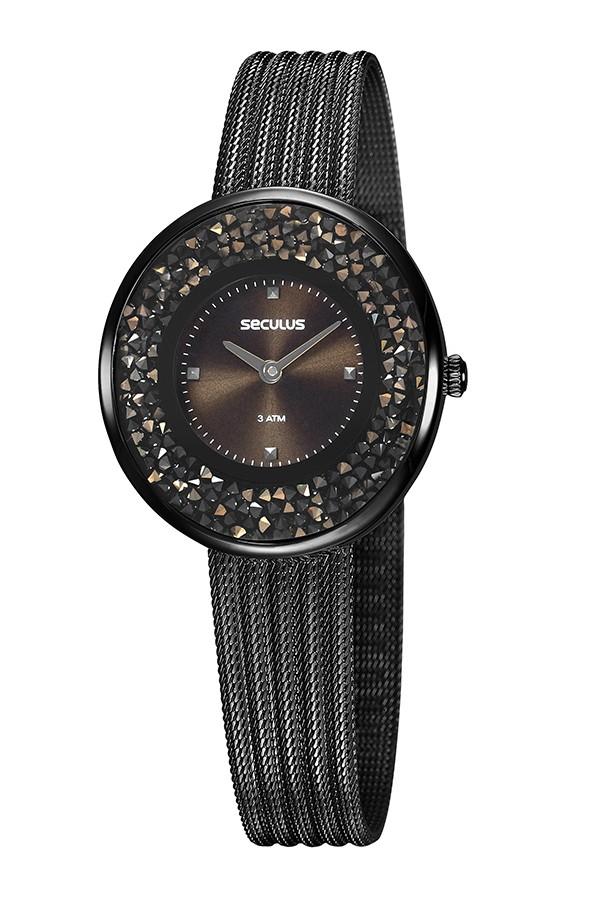 Relógio Feminino Seculus Pulseira de Aço Preta Fundo Marrom 13042LPSVPS4
