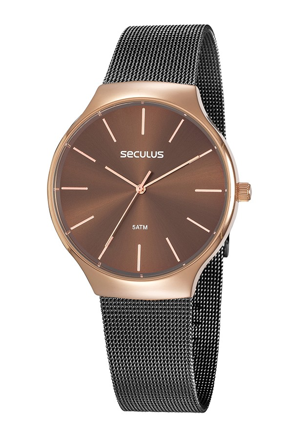 Relógio Feminino Seculus Pulseira de Aço Preta Fundo Marrom 77057LPSVIS2