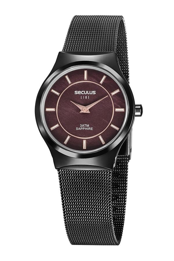 Relógio Feminino Seculus Pulseira de Aço Preta Fundo Preto 20772LPSVPS1
