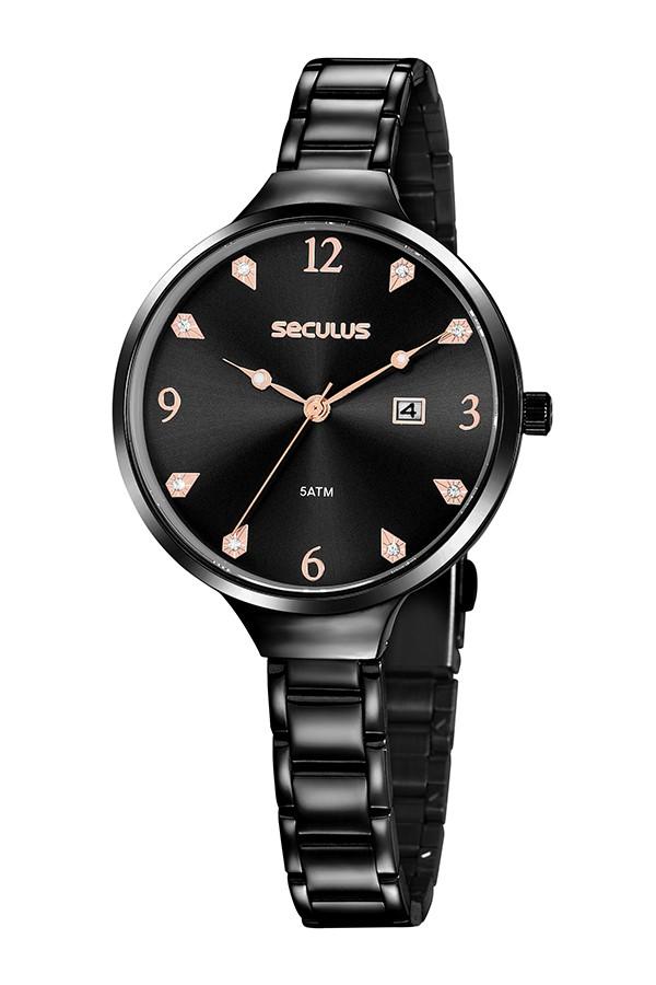 Relógio Feminino Seculus Pulseira de Aço Preta Fundo Preto 20885LPSVPS2