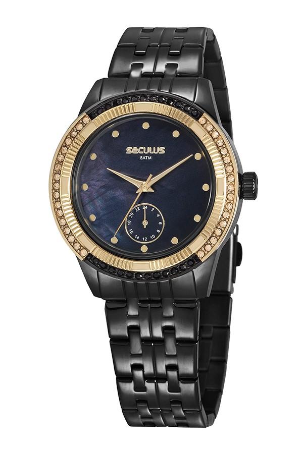 Relógio Feminino Seculus Pulseira de Aço Preta Fundo Preto