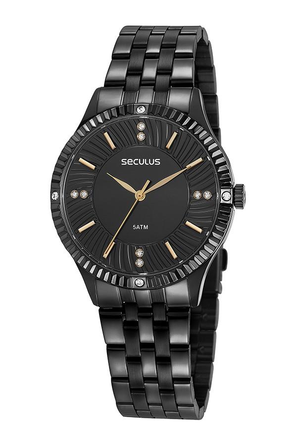 Relógio Feminino Seculus Pulseira de Aço Preta Fundo Preto 77026LPSVPS3