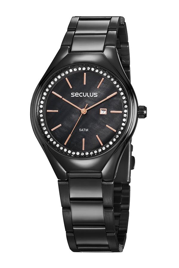 Relógio Feminino Seculus Pulseira de Aço Preta Fundo Preto 77044LPSVPS3