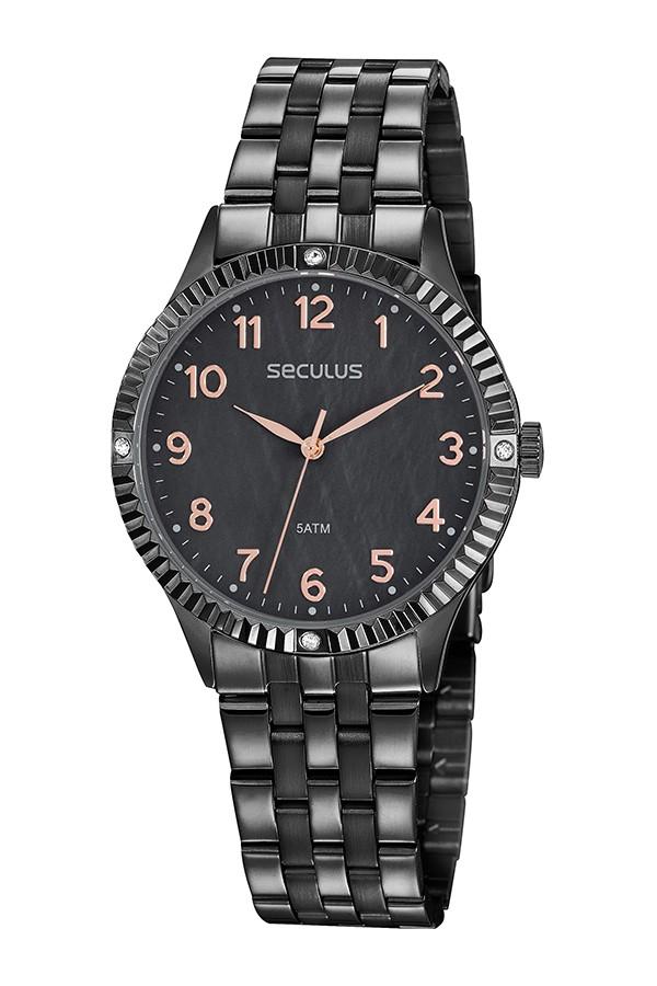 Relógio Feminino Seculus Pulseira de Aço Preta Fundo Preto 77047LPSVPS4