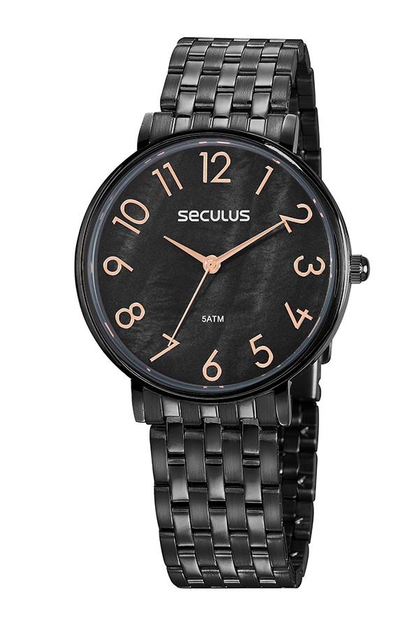 Relógio Feminino Seculus Pulseira de Aço Preta Fundo Preto 77050LPSVPS3