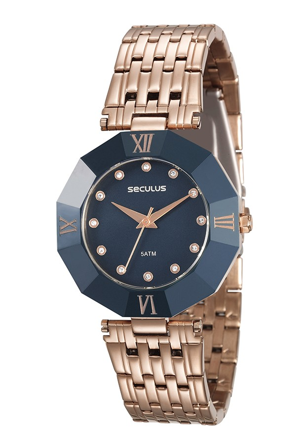 Relógio Feminino Seculus Pulseira de Aço Rose Gold Fundo Azul 23529LPSKRQ8