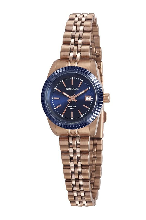 Relógio Feminino Seculus Pulseira de Aço Rose Gold Fundo Azul
