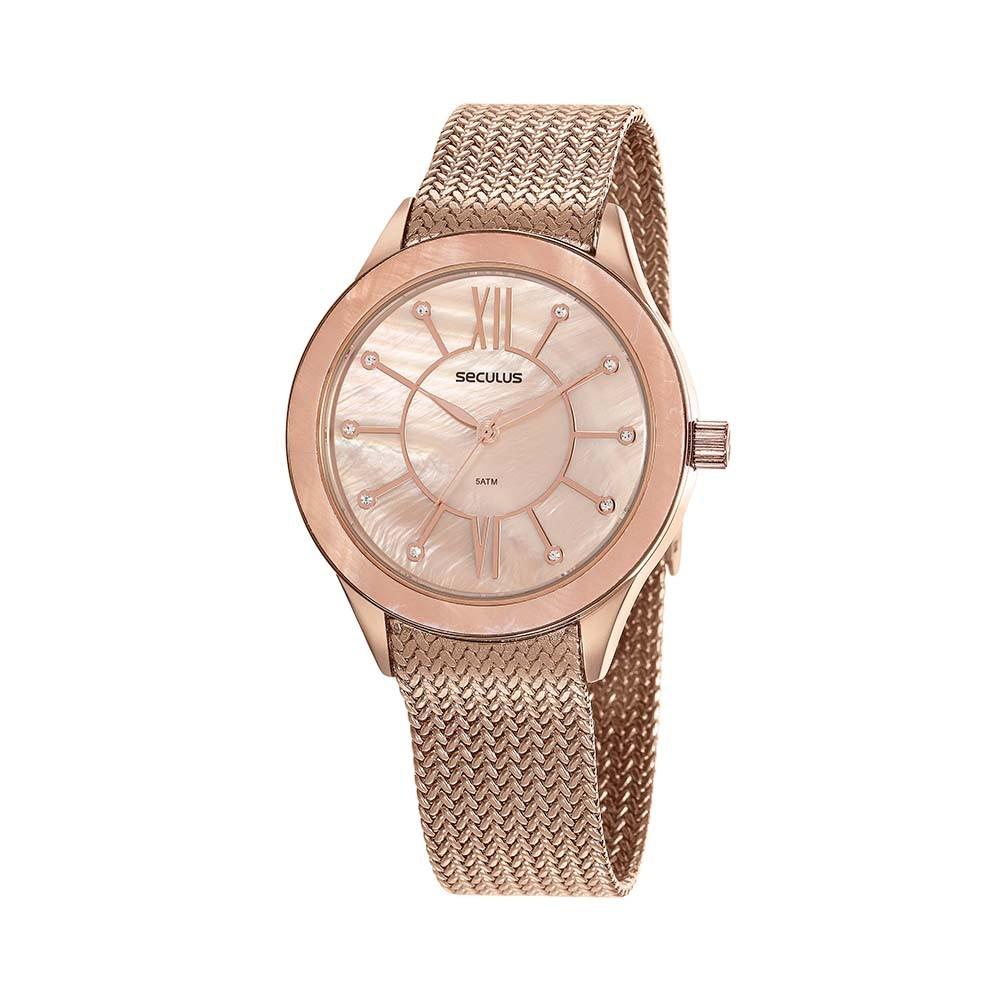 Relógio Feminino Seculus Pulseira de Aço Rose Gold Fundo Bege