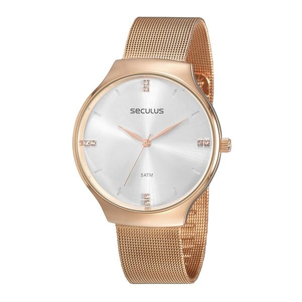 Relógio Feminino Seculus Pulseira de Aço Rose Gold Fundo Branco 77076LPSVRS3