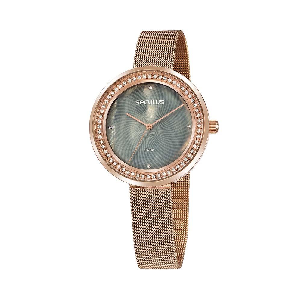 Relógio Feminino Seculus Pulseira de Aço Rose Gold Fundo Cinza