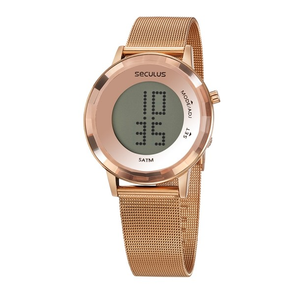 Relógio Feminino Seculus Pulseira de Aço Rose Gold Fundo Lcd Positivo