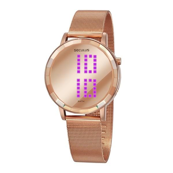 Relógio Feminino Seculus Pulseira de Aço Rose Gold Fundo Led