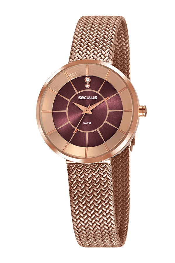 Relógio Feminino Seculus Pulseira de Aço Rose Gold Fundo Marrom 23681LPSVRS1