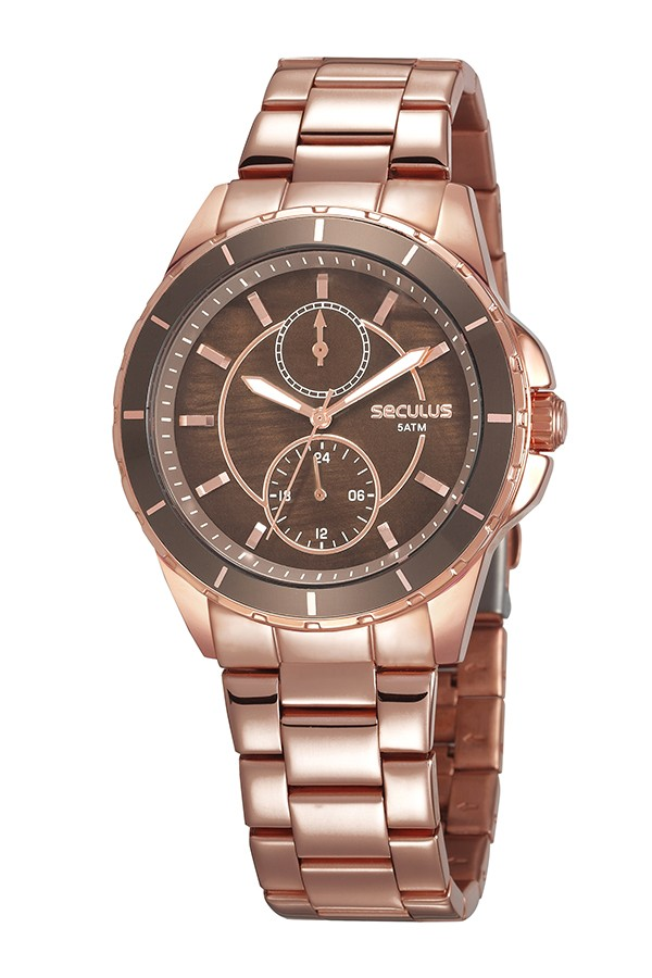 Relógio Feminino Seculus Pulseira de Aço Rose Gold Fundo Marrom 28972LPSVRS1