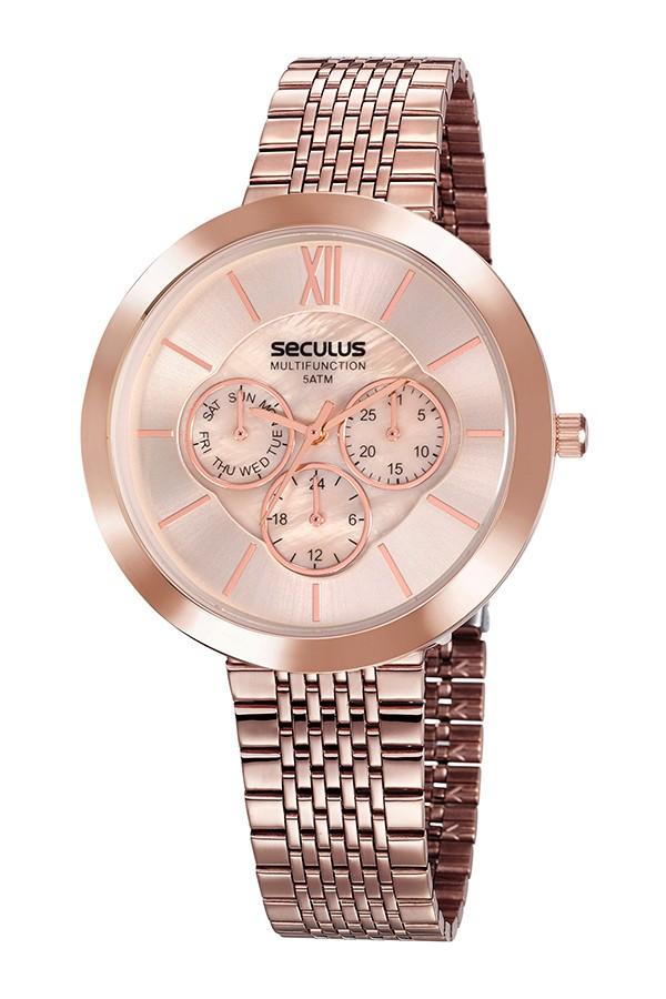 Relógio Feminino Seculus Pulseira de Aço Rose Gold Fundo Rosa 20541LPSVRS4
