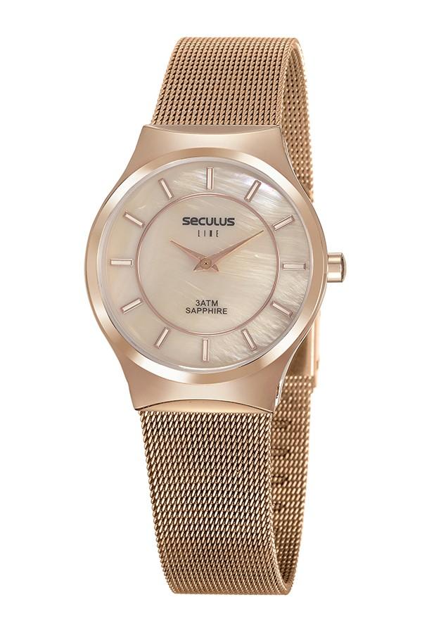 Relógio Feminino Seculus Pulseira de Aço Rose Gold Fundo Rose Gold 20772LPSVRS5