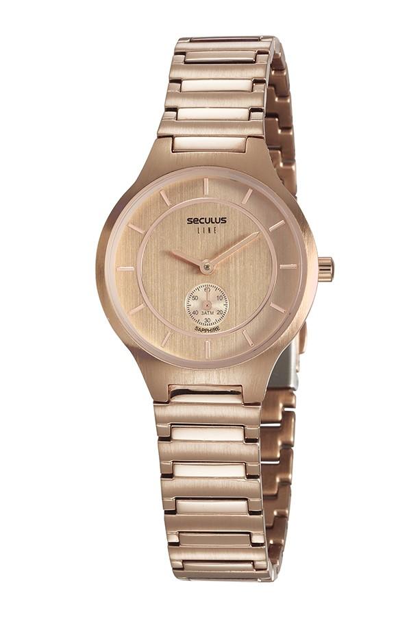 Relógio Feminino Seculus Pulseira de Aço Rose Gold Fundo Rose Gold 20774LPSVRS2