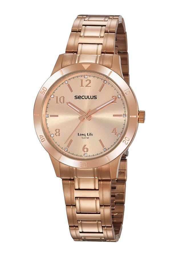 Relógio Feminino Seculus Pulseira de Aço Rose Gold Fundo Rose Gold