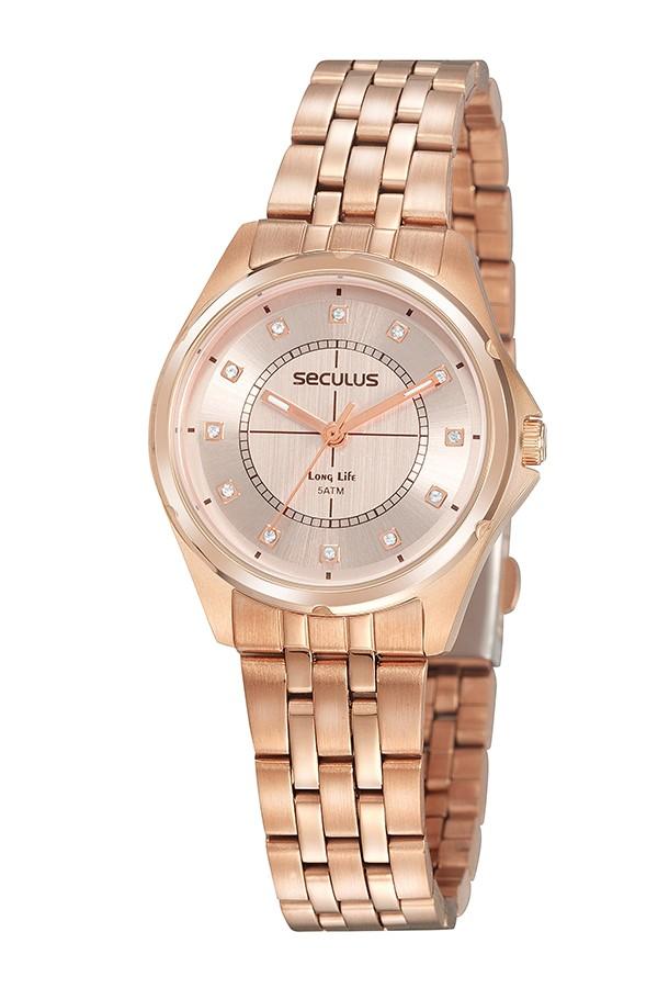 Relógio Feminino Seculus Pulseira de Aço Rose Gold Fundo Rose Gold 20896LPSVRA2