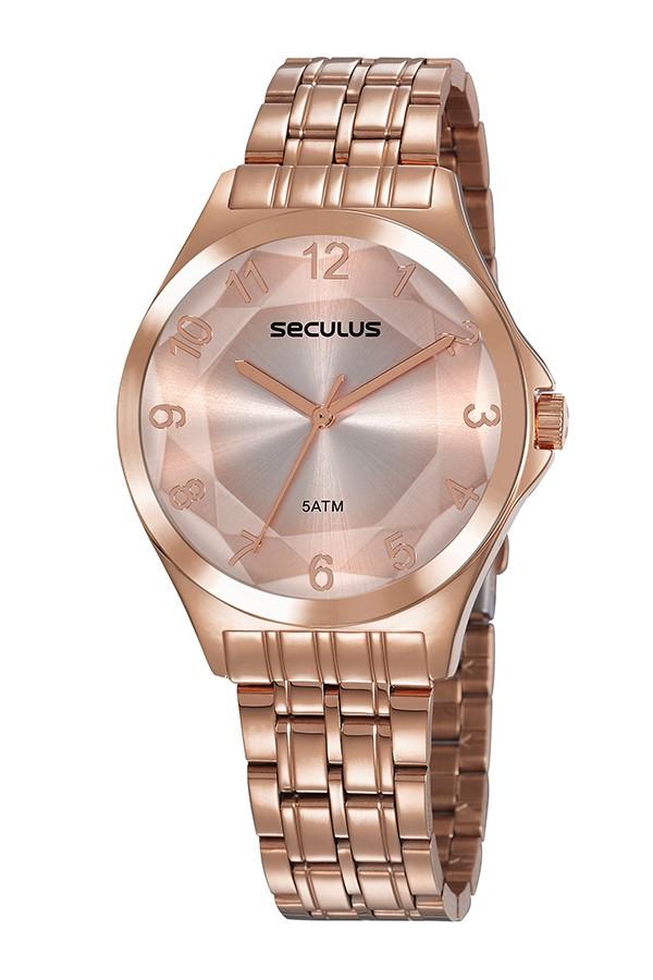 Relógio Feminino Seculus Pulseira de Aço Rose Gold Fundo Rose Gold 23602LPSVRS4