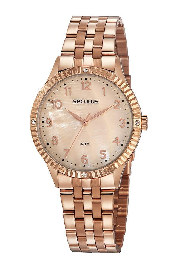 Relógio Feminino Seculus Pulseira de Aço Rose Gold Fundo Rose Gold 77047LPSVRS3