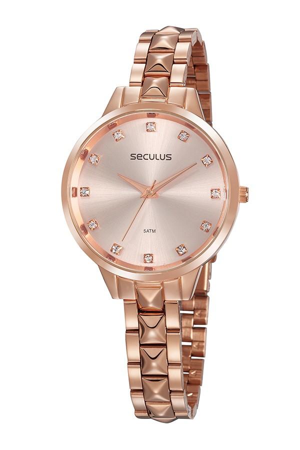 Relógio Feminino Seculus Pulseira de Aço Rose Gold Fundo Rose Gold 77067LPSVRS2