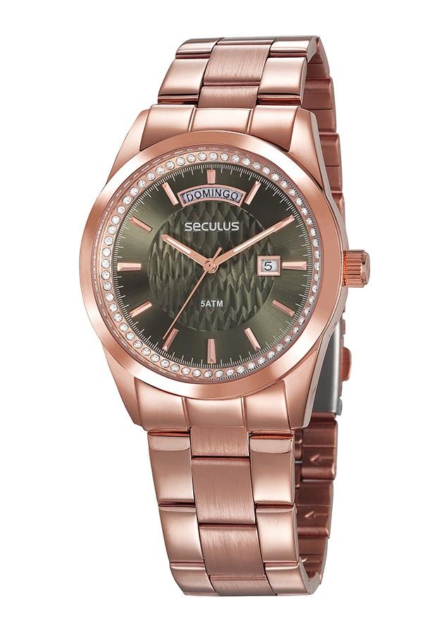 Relógio Feminino Seculus Pulseira de Aço Rose Gold Fundo Verde